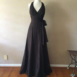 Dark Brown Watters Halter Gown